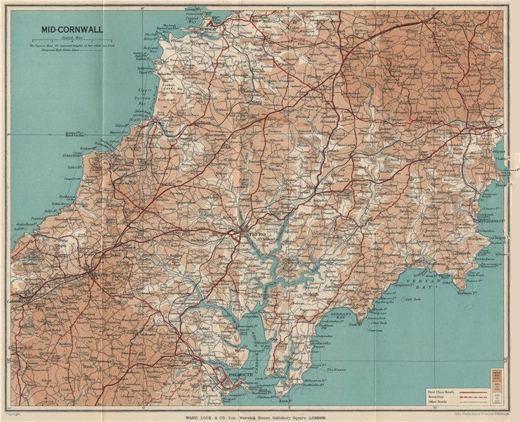 Associate Product MID-CORNWALL. Carrick Roads Truro Newquay Redruth Falmouth St Austell 1938 map