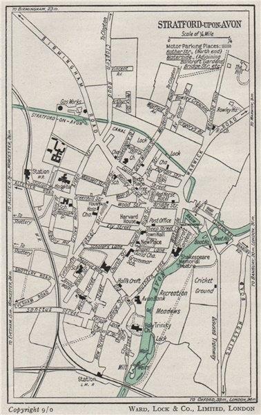 Associate Product STRATFORD-UPON-AVON vintage town/city plan. Warwickshire. WARD LOCK 1950 map