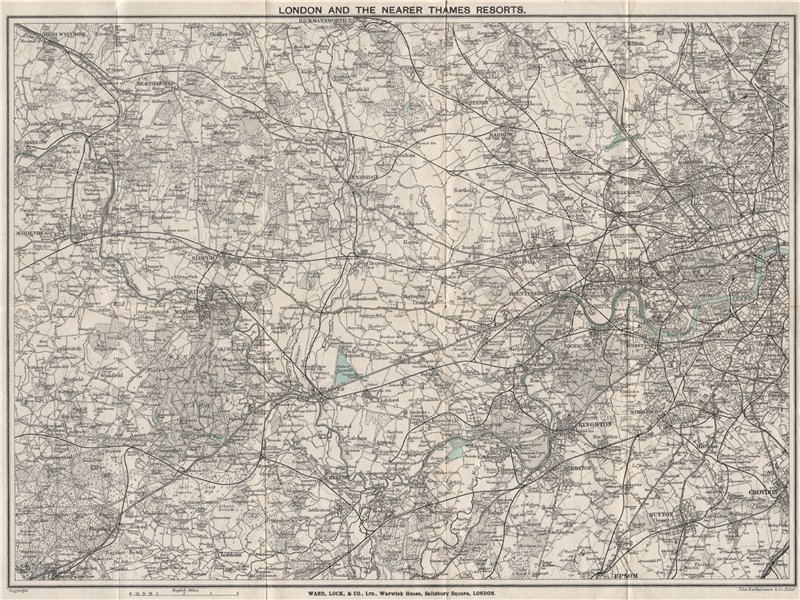 Associate Product THE THAMES VALLEY. Marlow Maidenhead Windsor Staines Chertsey Kingston 1912 map