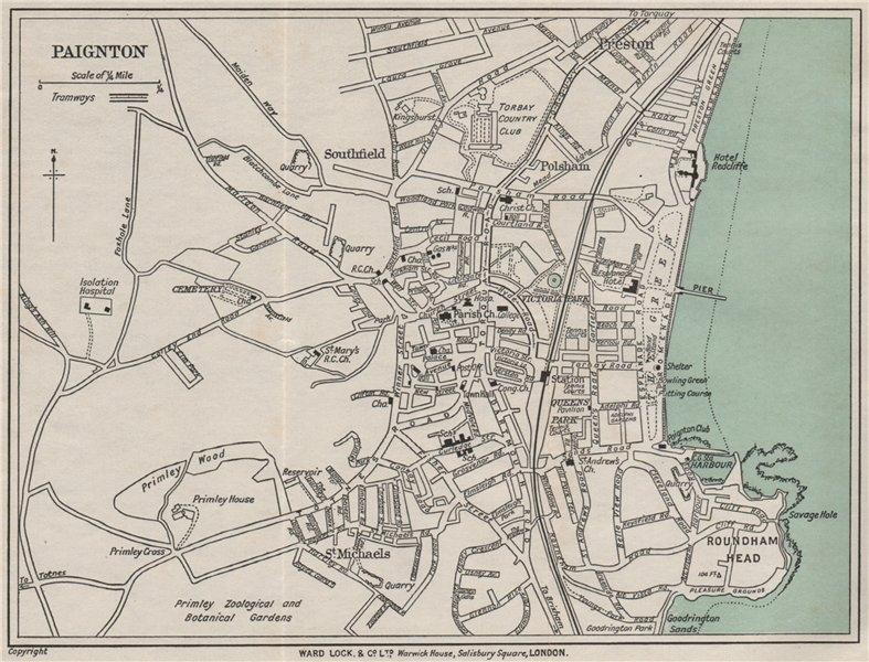 Associate Product PAIGNTON vintage city/town plan. Devon. WARD LOCK 1932 old vintage map chart