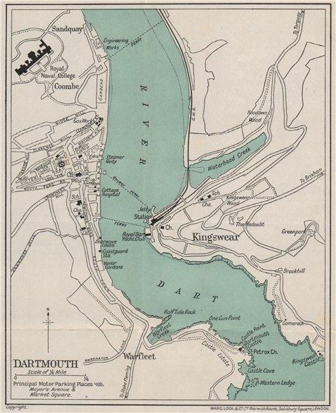 Associate Product DARTMOUTH vintage city/town plan. Devon. WARD LOCK 1932 old vintage map chart