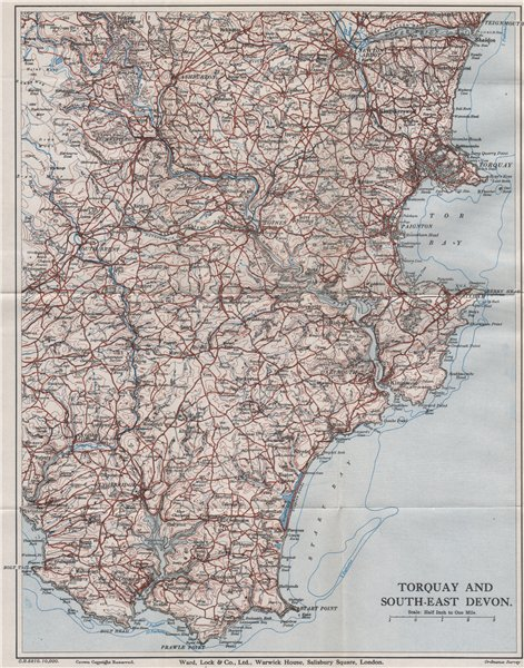 Associate Product SOUTH HAMS & TORBAY Paignton Brixham Totnes Salcombe Kingsbridge. Devon 1936 map
