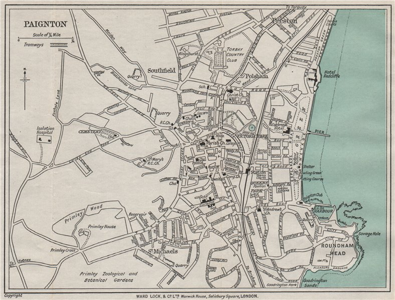 Associate Product PAIGNTON vintage town/city plan. Devon. WARD LOCK 1936 old vintage map chart