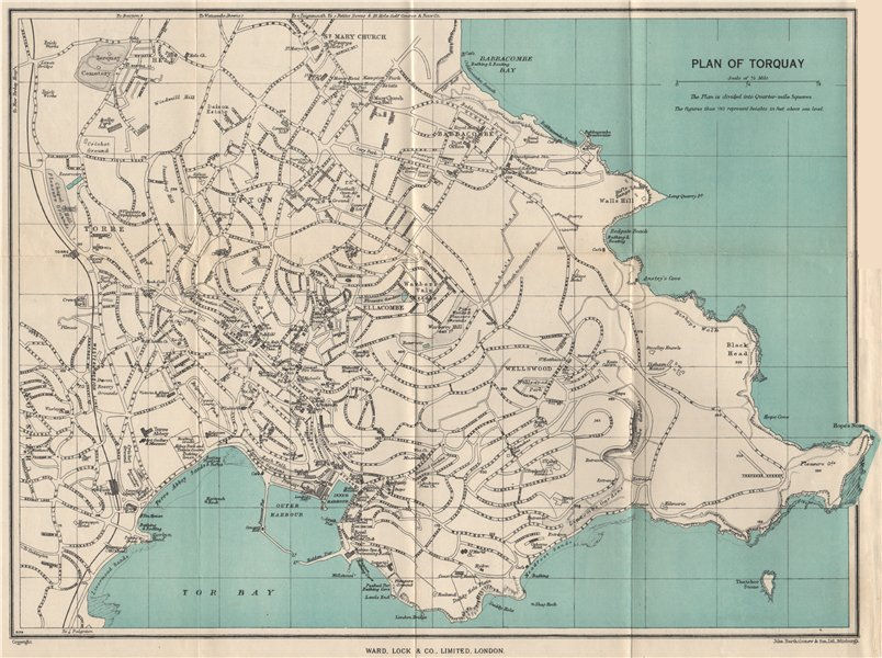 TORQUAY vintage town/city plan. Devon. WARD LOCK 1954 old vintage map chart