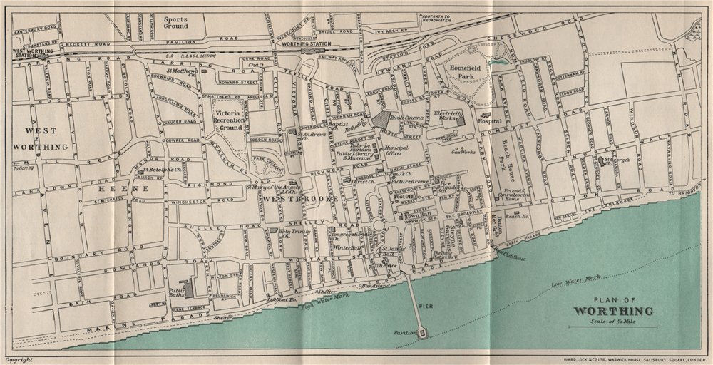 Associate Product WORTHING vintage town/city plan. Sussex. WARD LOCK 1933 old vintage map chart