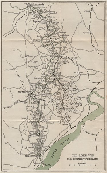Associate Product RIVER WYE VALLEY. Hereford-Ross-Monmouth-Chepstow-Severn. WARD LOCK 1917 map