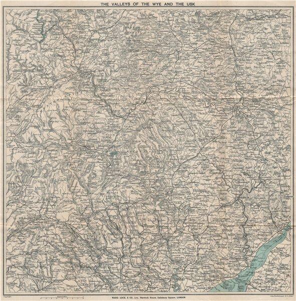 Associate Product WYE & USK VALLEYS. Newport Monmouth Merthyr Tydfil Hereford Pontypridd 1917 map