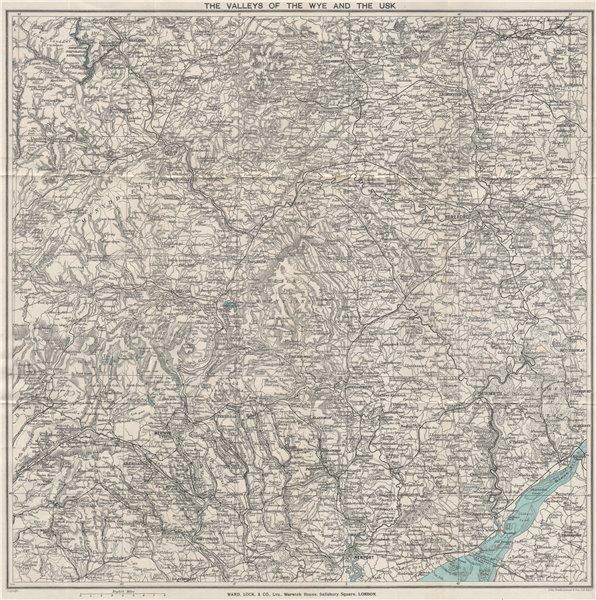 Associate Product WYE & USK VALLEYS. Newport Monmouth Merthyr Tydfil Hereford Pontypridd 1927 map