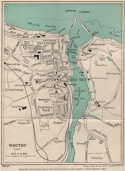 WHITBY vintage town/city plan. Yorkshire. WARD LOCK 1945 old vintage map chart