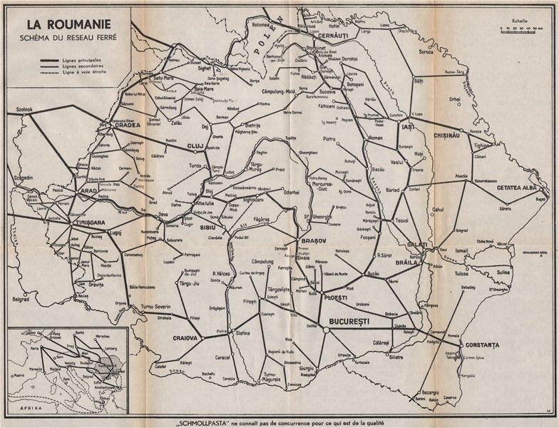 Associate Product ROMANIA railways map. La Roumanie schéma du reseau ferré 1938 old vintage