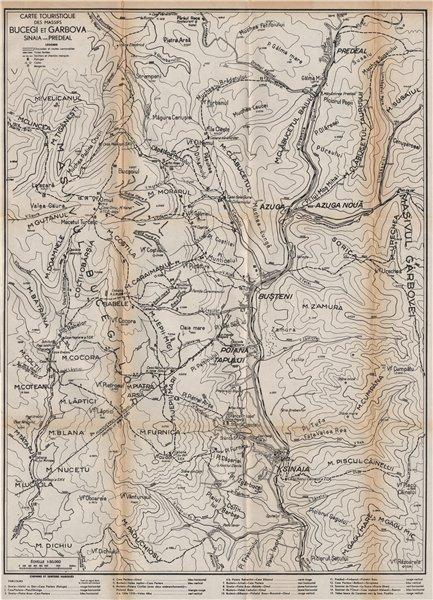 Associate Product BUCEGI & GARBOVA MASSIFS mountains vintage map. Sinaia-Predeal. Romania 1938
