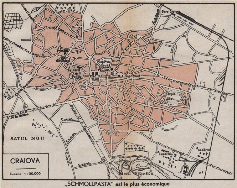 Associate Product CRAIOVA vintage town/city plan. Romania 1938 old vintage map chart