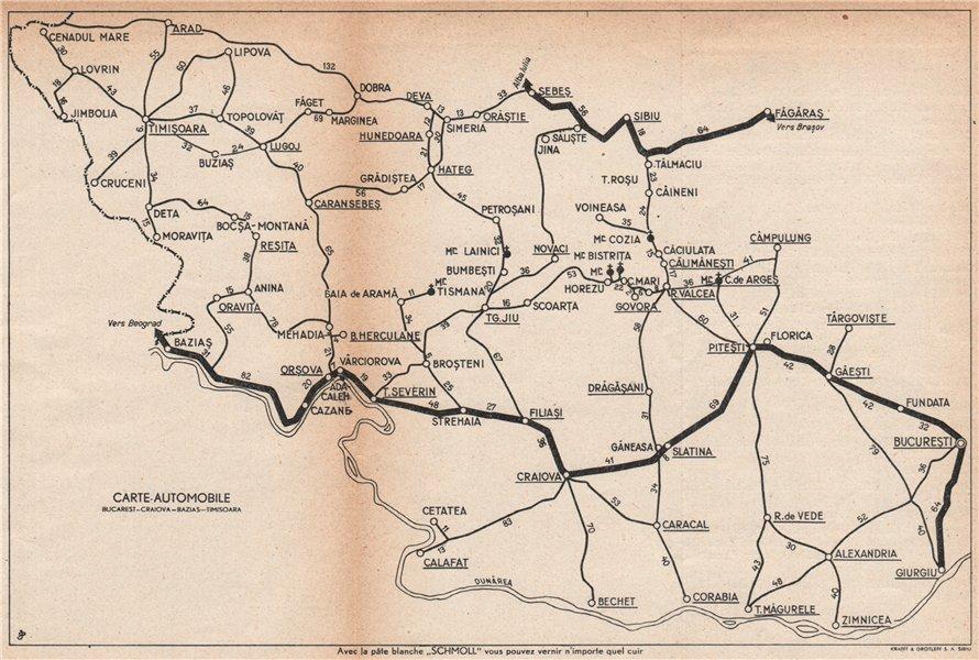 Associate Product ROMANIA vintage road map. Bucharest-Craiova-Bazias-Timisoara. Fagaras 1938