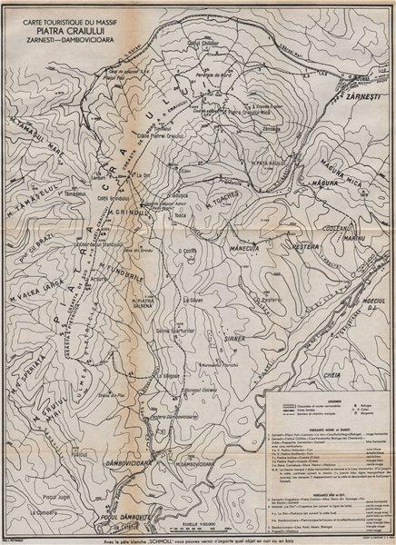 Associate Product PIATRA CRAIULUI MASSIF Mountains. Zarnesti-Dambovicioara. Romania 1938 old map