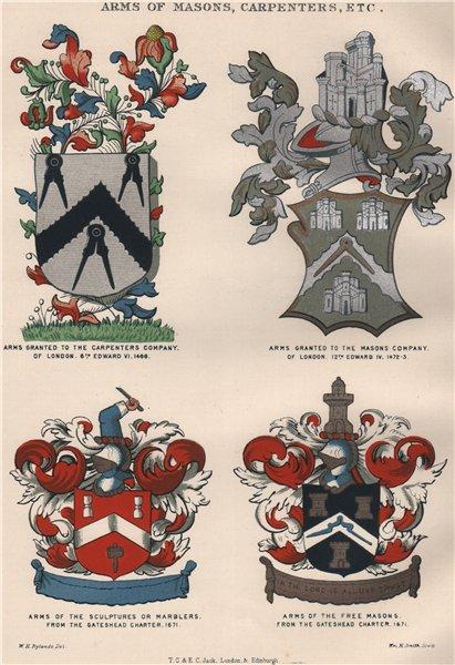 Associate Product FREEMASONRY. Arms of Masons, Carpenters, Sculptures, Marblers, Freemasons 1882