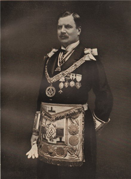 Associate Product FREEMASONRY. Earl of Derby, Provincial Grand Master of Lancashire East 1882