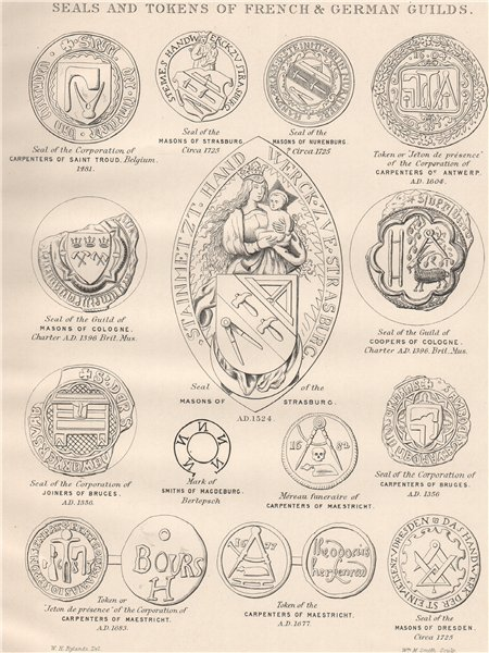 Associate Product FREEMASONRY. Seals and Tokens of French & German Guilds. France Germany 1882