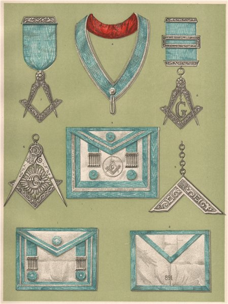 Associate Product FREEMASONRY. Grand Lodge of Ireland. Private Lodge Clothing and Jewels 1882