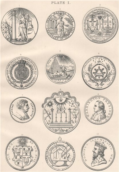 Associate Product FREEMASONRY. Plate I 1882 old antique vintage print picture