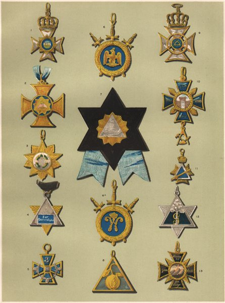 Associate Product FREEMASONRY. A Representative Selection of German Lodge Jewels. Germany 1882