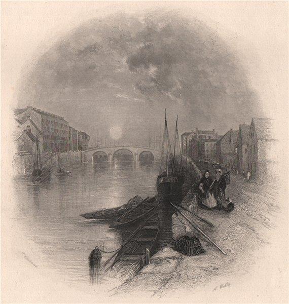 Associate Product St Patrick's Bridge, Cork. Ireland 1835 old antique vintage print picture