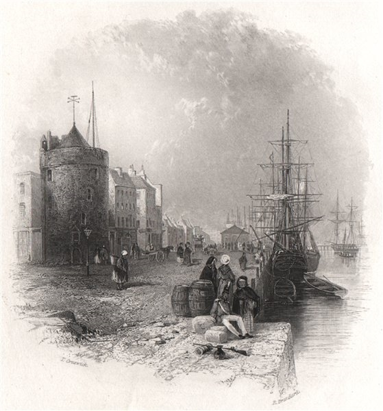 Associate Product The Quay at Waterford, Waterford. Ireland 1835 old antique print picture
