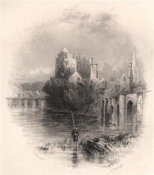 Donegal Castle, Donegal. Ireland 1835 old antique vintage print picture