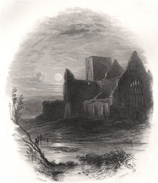 The Abbey of Holy Cross, Tipperary. Ireland 1835 old antique print picture