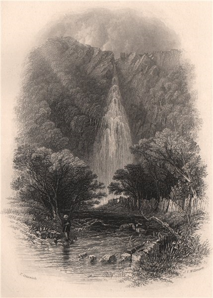 Associate Product Powerscourt Waterfall, Wicklow. Ireland 1835 old antique vintage print picture