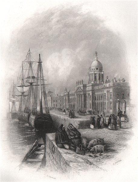 Custom House. Dublin. Ireland 1835 old antique vintage print picture