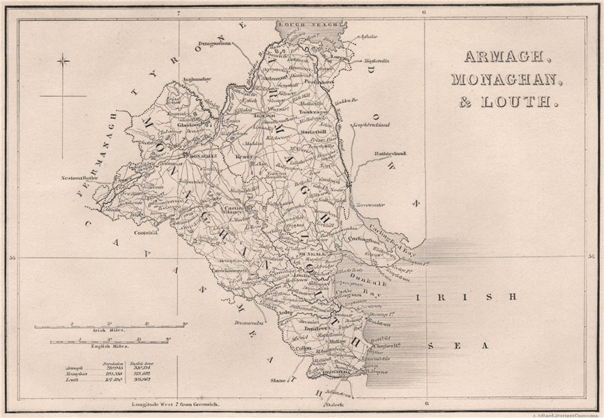 Antique ARMAGH, MONAGHAN & LOUTH county map. ADLARD Northern Ireland Ulster 1835