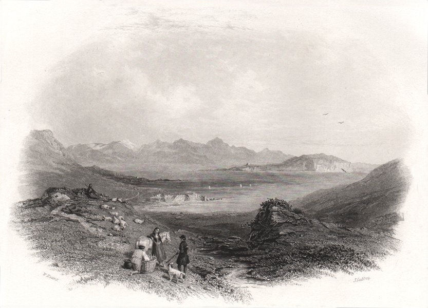 Achill, Mayo. Ireland 1835 old antique vintage print picture