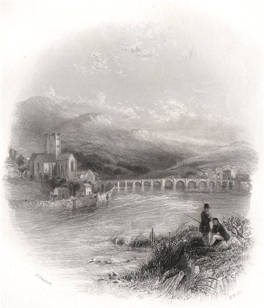Killaloe on the Shannon, Clare. Ireland 1835 old antique vintage print picture