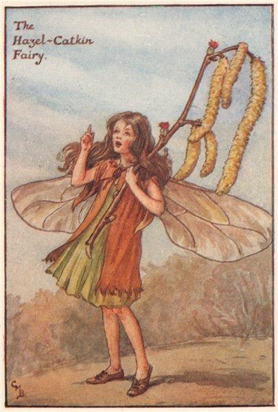 Associate Product Hazel-Catkin Fairy by Cicely Mary Barker. Spring Flower Fairies c1935 print