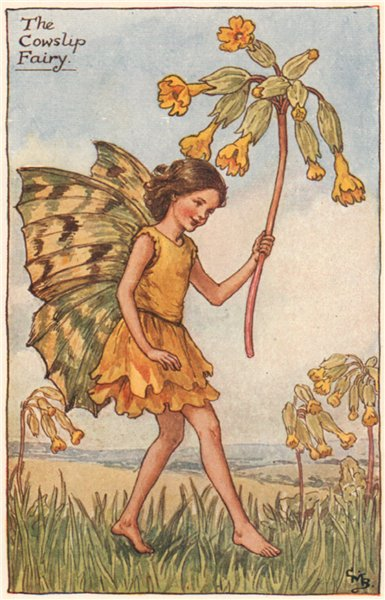 Associate Product Cowslip Fairy by Cicely Mary Barker. Spring Flower Fairies c1935 old print