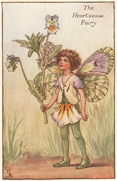 Associate Product Heart's-Ease Fairy by Cicely Mary Barker. Spring Flower Fairies c1935 print