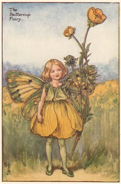 Associate Product Buttercup Fairy by Cicely Mary Barker. Summer Flower Fairies c1935 old print