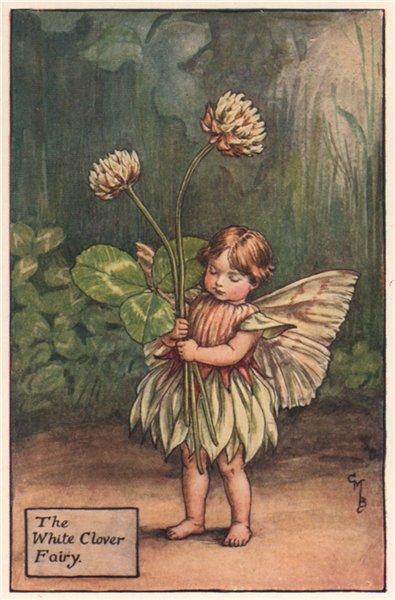 Associate Product White Clover Fairy by Cicely Mary Barker. Summer Flower Fairies c1935 print