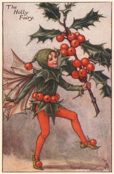 Associate Product Holly Fairy by Cicely Mary Barker. Autumn Flower Fairies c1935 old print