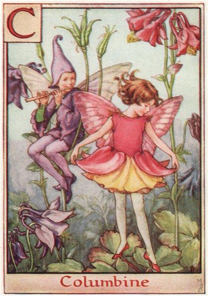 Associate Product C = Columbine Fairy by Cicely Mary Barker. Alphabet Flower Fairies c1934 print