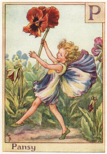 Associate Product P = Pansy Fairy by Cicely Mary Barker. Alphabet Flower Fairies c1934 old print