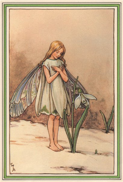 Associate Product Snowdrop Fairy by Cicely Mary Barker. Winter Flower Fairies 1985 old print