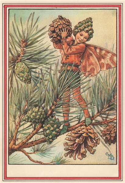 Associate Product Pine Tree Fairy by Cicely Mary Barker. Winter Flower Fairies 1985 old print