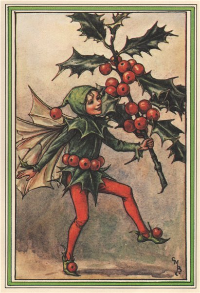 Associate Product Holly Fairy by Cicely Mary Barker. Winter Flower Fairies 1985 old print