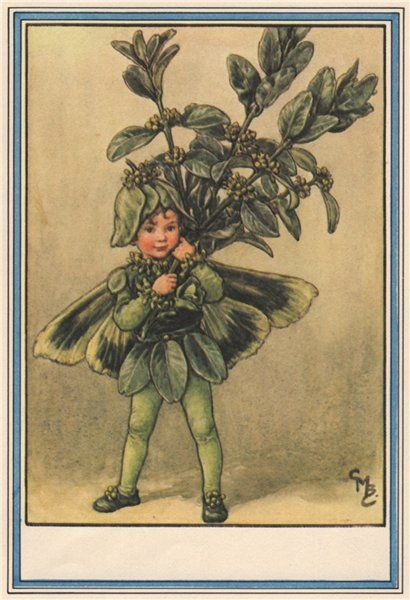 Associate Product Box Tree Fairy by Cicely Mary Barker. Winter Flower Fairies 1985 old print