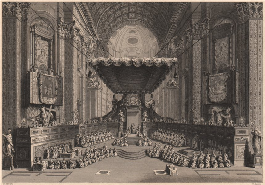 Associate Product Canonization of Saints in St. Peter's Church at Rome. Vatican. Catholicism 1840
