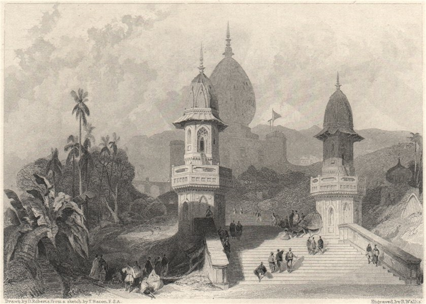 Associate Product Ghat and Temple at Gokul, India 1840 old antique vintage print picture
