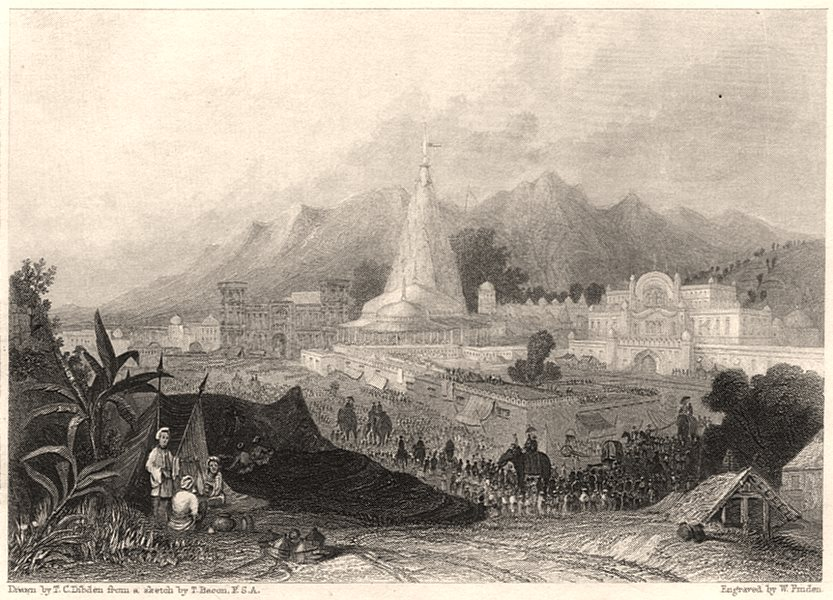 The Great Temple, Haridwar. Hinduism 1840 old antique vintage print picture