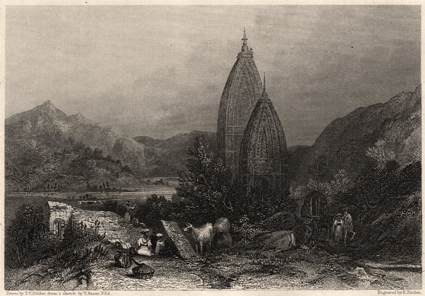 Associate Product Hindu Temple. Stupa of Mahadeo in the Sivalik Mountains, India 1840 old print
