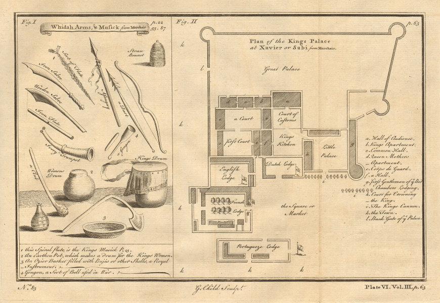 WHYDAH BENIN. Arms Music. King's Palace at Xavier or Sabi/Savi. G.CHILD 1746 map
